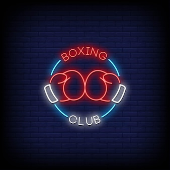 Boxing club neon signs style text