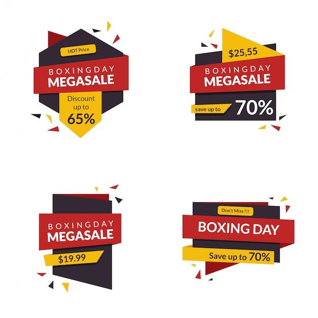Boxing day banner korting voor winkel reclame markt aanbieding verkoop teken promotie met moderne stijl.