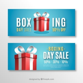 Boxing day sale banner blauw