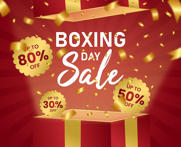 Boxing day sale exclusieve red box gold ribbon sunburst vector