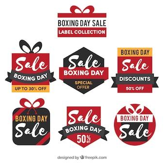Boxing day verkoop badge met cadeau vorm
