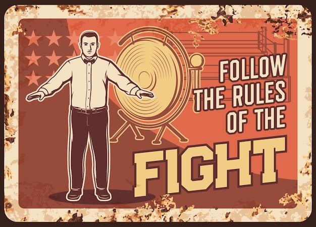 Boxing fight club metalen roestige plaat met doosscheidsrechter en gong