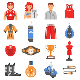 Boxing munitie flat color icons set