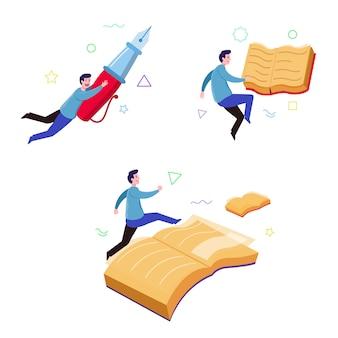 Boy book reader fantasierijk drijvend