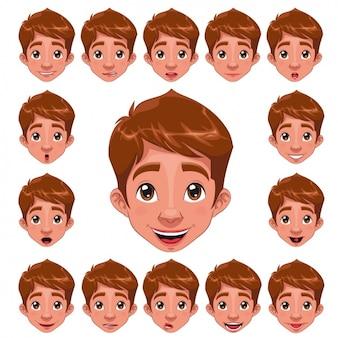 Boy gezichten collectie Gratis Vector