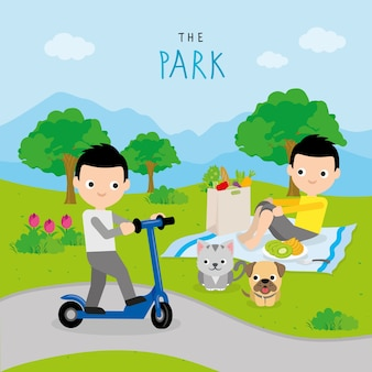 Boy play activity relax at park cartoon character vector