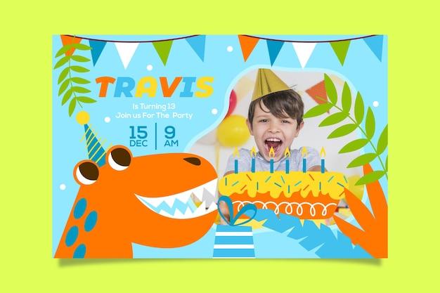 Boy's verjaardag uitnodiging sjabloon met afbeelding