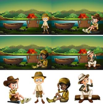 Boy scout kamperen in het bos