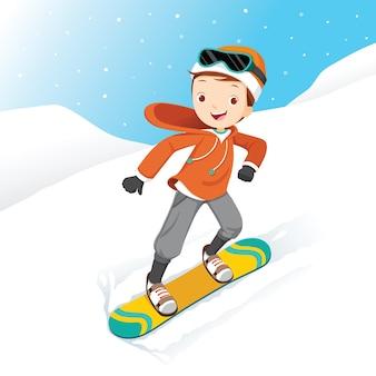 Boy snowboarden, sneeuw vallen, winterseizoen