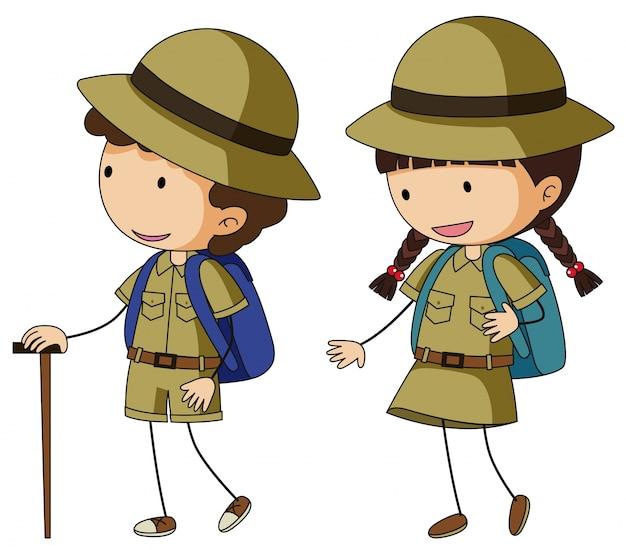 Boyscout en meidenscout in bruin uniform
