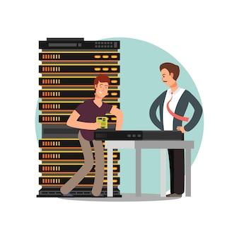 Boze baas en computer genereren platte stripfiguur. vector illustratie