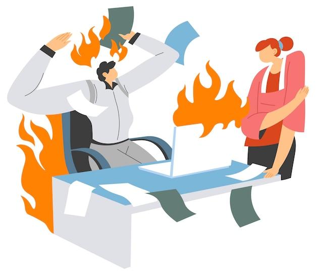 Boze baas gooit papieren en documenten weg