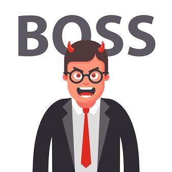 Boze baas met hoorns. ontevreden gezicht van een man in een pak. vlakke karakter illustratie.