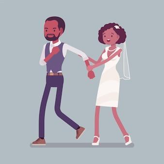 Boze bruidegom die bruid verlaat op huwelijksceremonie