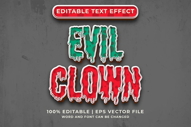 Boze clown bewerkbaar teksteffect 3d-sjabloonstijl premium vector