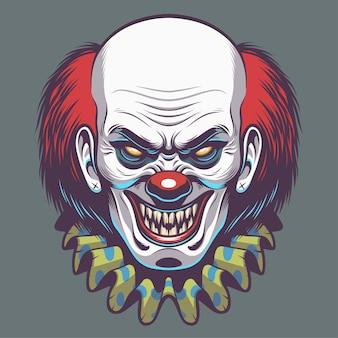 Boze clown hoofd illustratie voor ontwerpelement