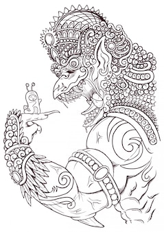 Boze garuda schets illustratie met traditionele ornamenten