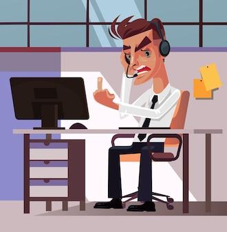 Boze gekke frustratie kantoormedewerker zakenman manager man karakter moe en woede tonen obsceen gebaar middelvinger. hard werken stress ergernis irritatie werkruimte negatieve emoties concept