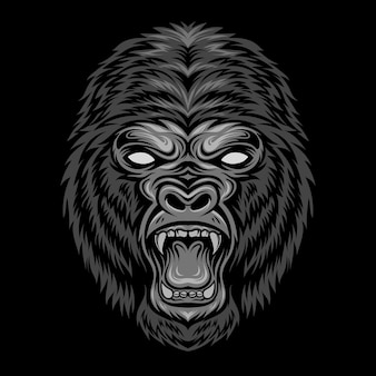 Boze gorilla hoofd illustratie