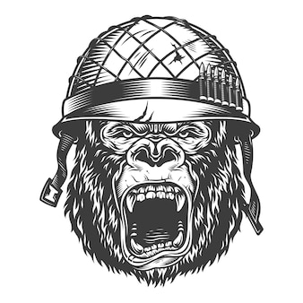 Boze gorilla in zwart-wit stijl