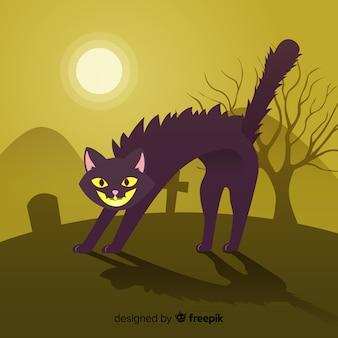 Boze halloween-kattenachtergrond