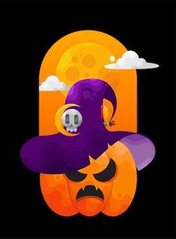 Boze halloween-pompoen met heksenhoedillustratie