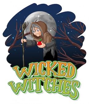 Boze heksen op nacht achtergrond