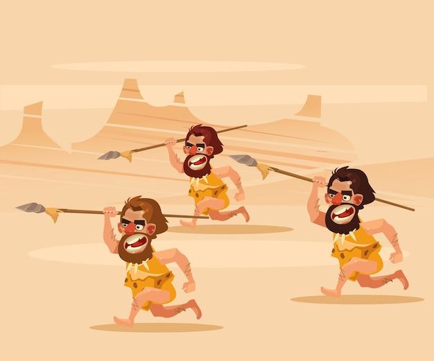 Boze hongerige primitieve holbewoners karakter achter rennende jacht cartoon afbeelding