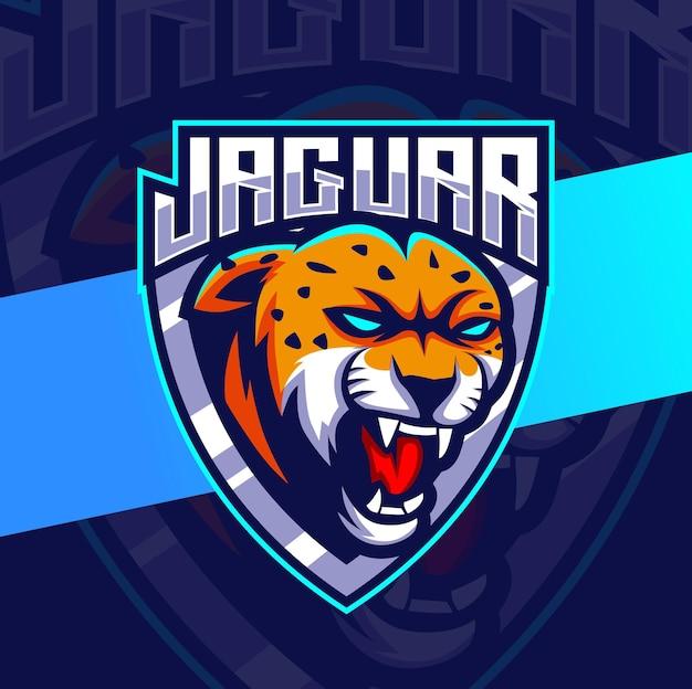 Boze jaguar luipaard mascotte esport logo-ontwerpen