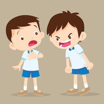Boze jongen die tegen vriend schreeuwt