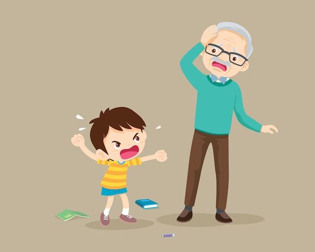Boze jongen scheldt tegen verdrietige ouderen