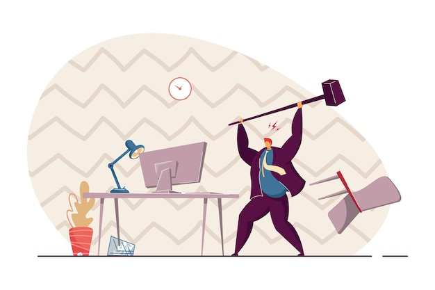 Boze kantoormedewerker breken computer met hamer vlakke afbeelding