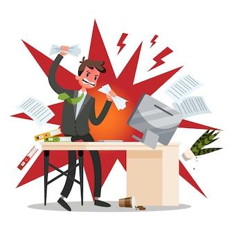Boze kantoormedewerker verplettert de werkplek