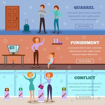 Boze karakters ruzie straffend kind en in conflictsituatie 3 horizontale cartoon banners webpagina ontwerp geïsoleerde vectorillustratie