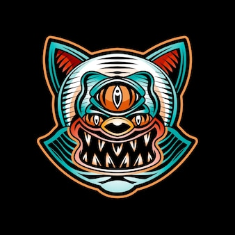 Boze kat tattoo logo sjabloon geïsoleerd op zwart