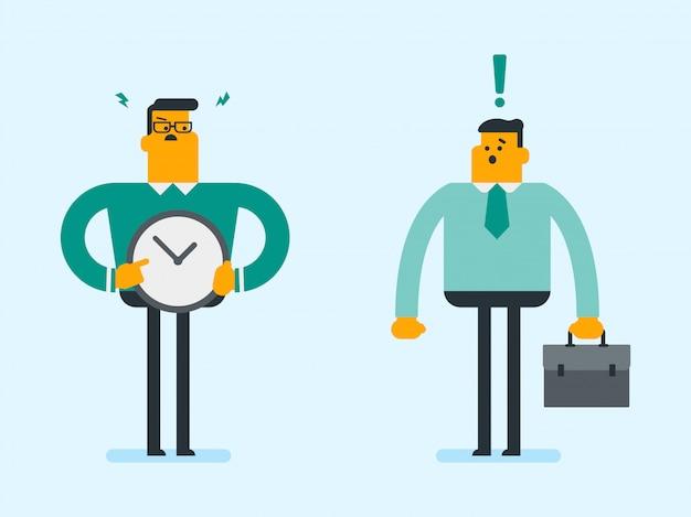Boze kaukasische werkgever die op tijd op klok richt