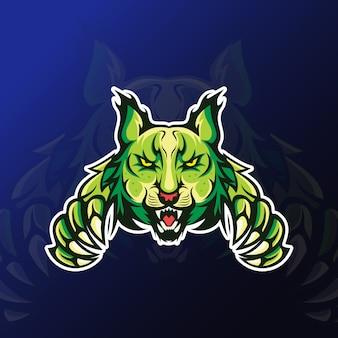 Boze lynx met klauwmascotte voor esport-gaming
