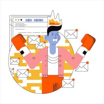 Boze man met bokshandschoenen met brandend hoofd. dringende e-mails irriteren de medewerker.