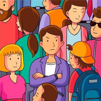 Boze man met gekruiste armen in menigte