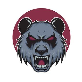 Boze panda hoofd mascotte illustratie