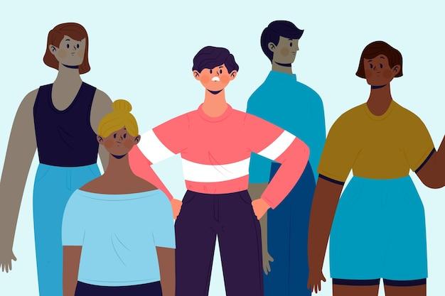 Boze persoon in menigteontwerp voor illustratie