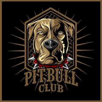 Boze pitbull mascotte illustratie