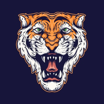 Boze tijger gezicht vectorillustratie