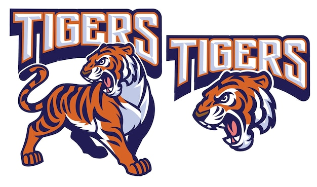 Boze tijger mascotte geïsoleerd op wit