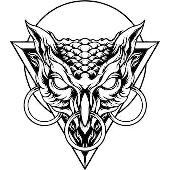 Boze uil hoofd silhouet
