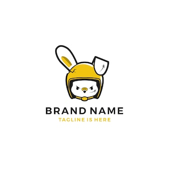 Boze vrouwelijke konijn hazen helm ruiter mascotte avatar karakter logo vector illustratie sjabloon