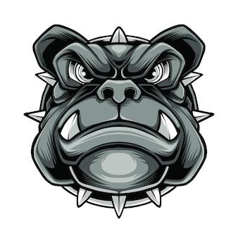 Boze witte hond mascot logo vector premium