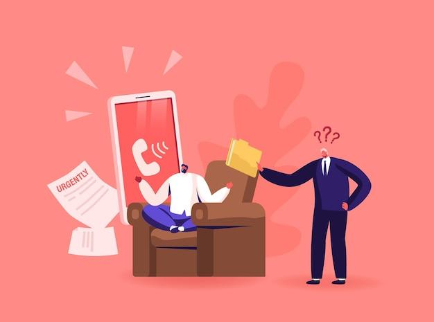 Boze woedende baas die schreeuwt tegen mannelijke werknemer die uitscheldt voor incompetent werk