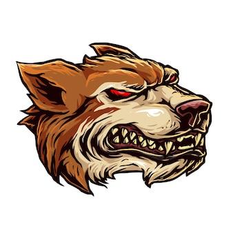 Boze wolf hoofd illustratie