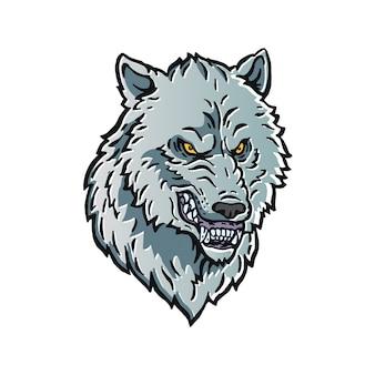 Boze wolf hoofd logo karakter illustratie